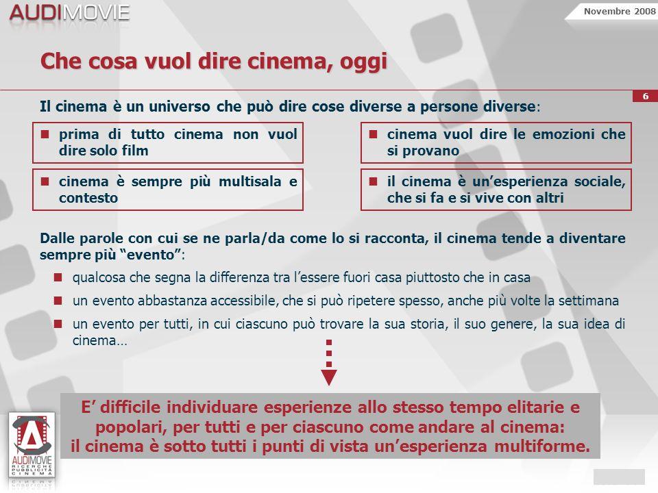 Novembre 2008 6 Che cosa vuol dire cinema, oggi Il cinema è un universo che può dire cose diverse a persone diverse: prima di tutto cinema non vuol di