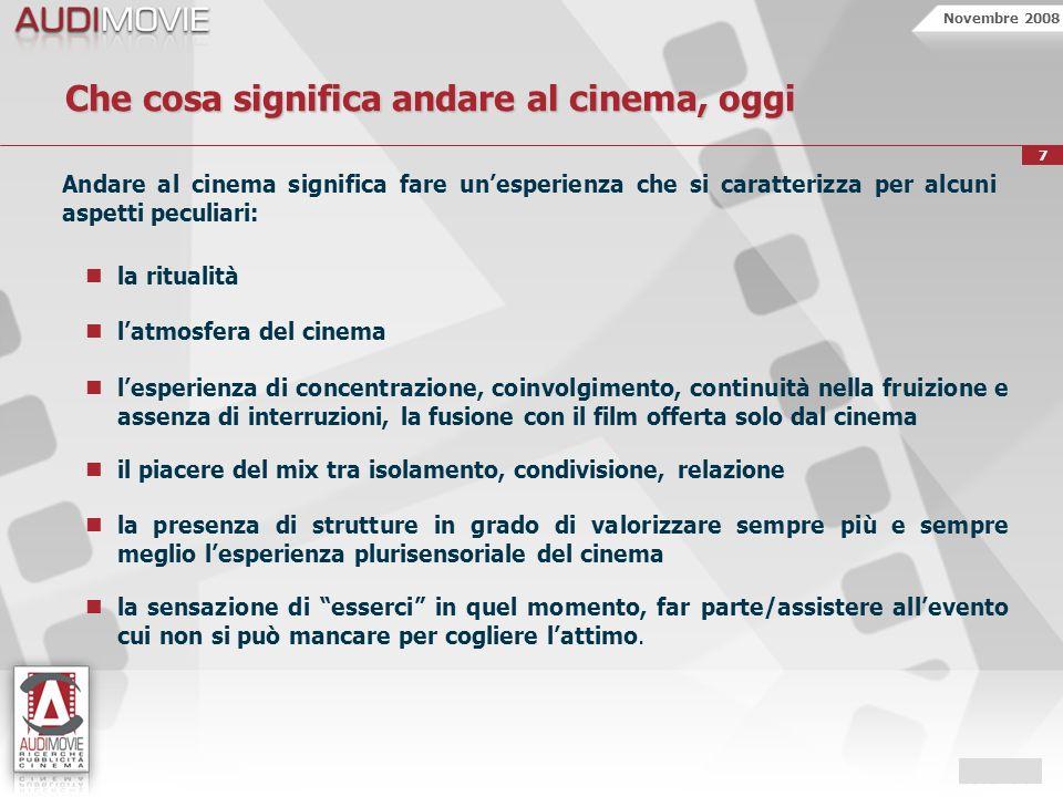 Novembre 2008 7 Che cosa significa andare al cinema, oggi Andare al cinema significa fare unesperienza che si caratterizza per alcuni aspetti peculiar