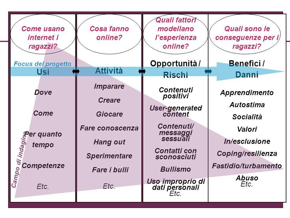 Come usano internet i ragazzi? Usi Dove Come Per quanto tempo Competenze Etc. Cosa fanno online? Attività Imparare Creare Giocare Fare conoscenza Hang