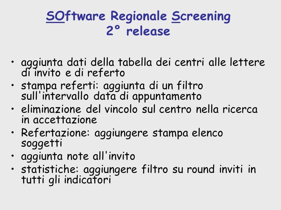 SOftware Regionale Screening 2° release aggiunta dati della tabella dei centri alle lettere di invito e di referto stampa referti: aggiunta di un filt
