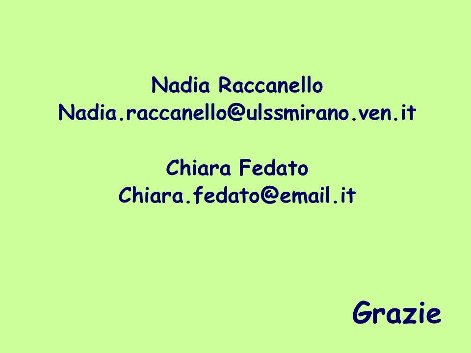 Grazie Nadia Raccanello Nadia.raccanello@ulssmirano.ven.it Chiara Fedato Chiara.fedato@email.it