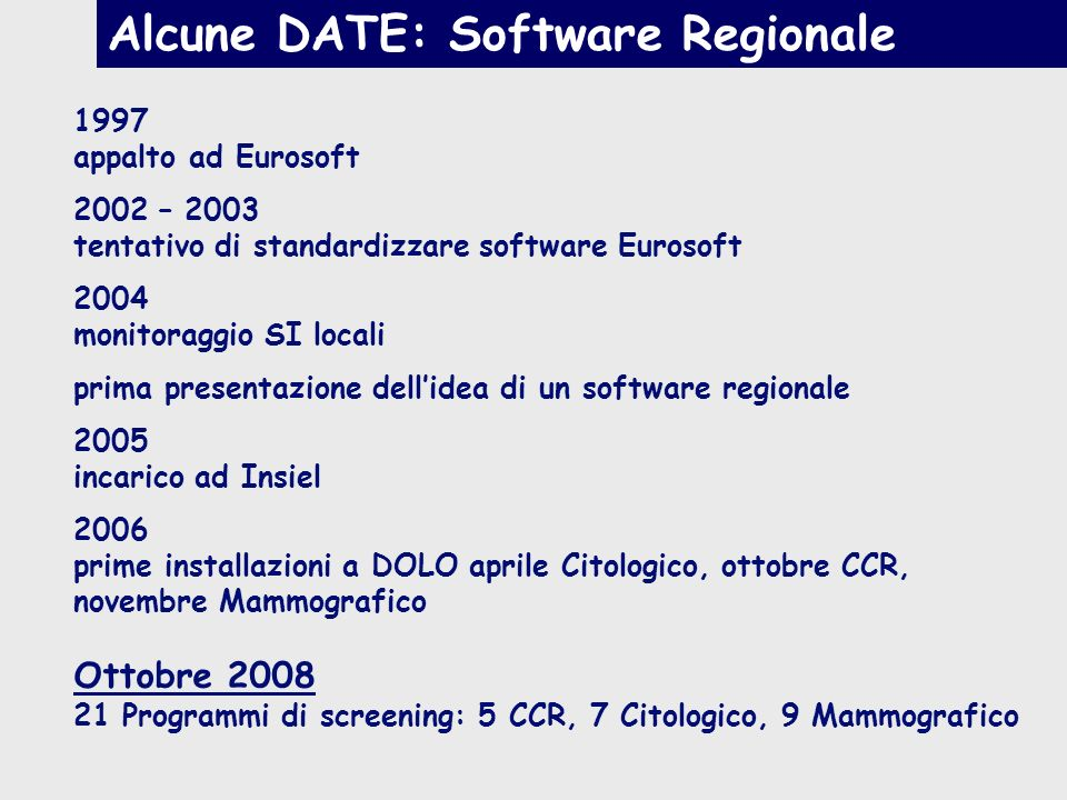 1997 appalto ad Eurosoft 2002 – 2003 tentativo di standardizzare software Eurosoft 2004 monitoraggio SI locali prima presentazione dellidea di un soft