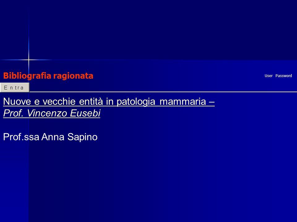 Bibliografia ragionata User Password Nuove e vecchie entità in patologia mammaria – Prof.