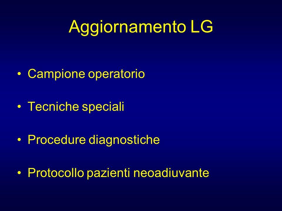 Aggiornamento LG Campione operatorio Tecniche speciali Procedure diagnostiche Protocollo pazienti neoadiuvante