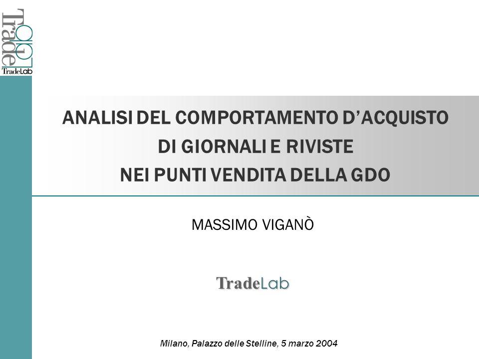 ANALISI DEL COMPORTAMENTO DACQUISTO DI GIORNALI E RIVISTE NEI PUNTI VENDITA DELLA GDO Milano, Palazzo delle Stelline, 5 marzo 2004 MASSIMO VIGANÒ Trade Lab