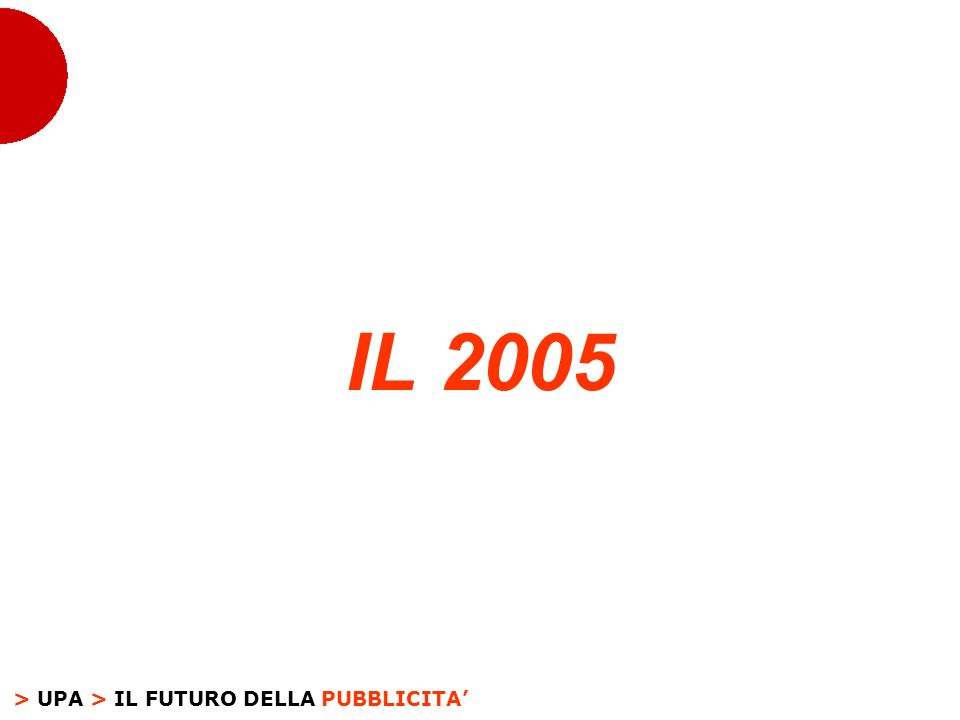 > UPA > IL FUTURO DELLA PUBBLICITA IL 2005
