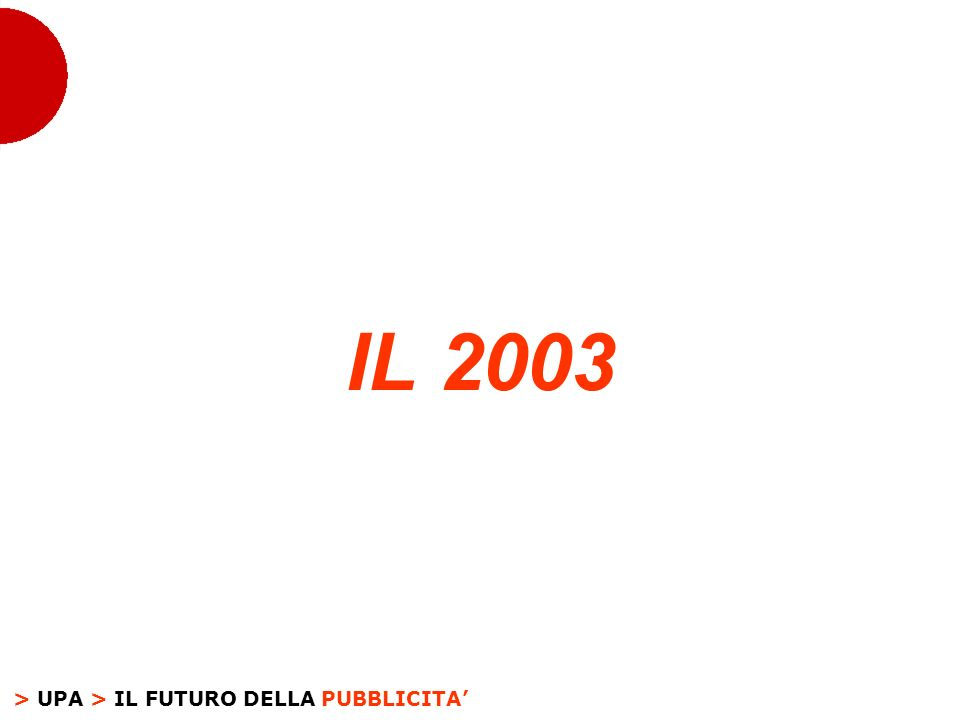 > UPA > IL FUTURO DELLA PUBBLICITA LANDAMENTO E I RISULTATI > IL 2003