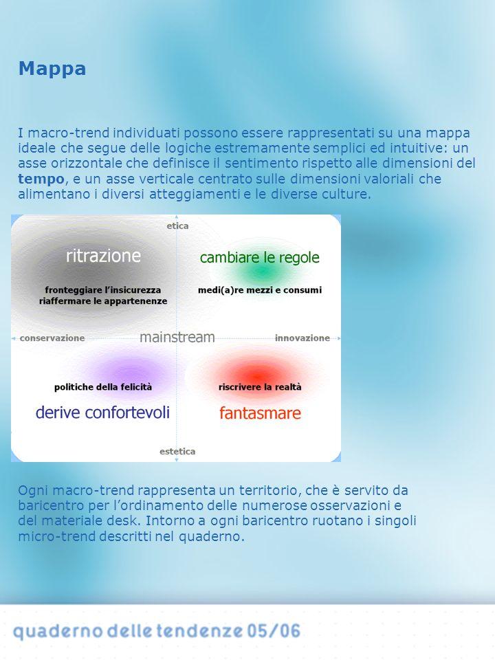 I macro-trend individuati possono essere rappresentati su una mappa ideale che segue delle logiche estremamente semplici ed intuitive: un asse orizzontale che definisce il sentimento rispetto alle dimensioni del tempo, e un asse verticale centrato sulle dimensioni valoriali che alimentano i diversi atteggiamenti e le diverse culture.