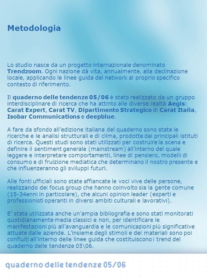 Il quaderno delle tendenze si propone come uno strumento utile all impostazione di scenari, previsioni e interpretazioni sui consumi e sulla comunicazione, finalizzati allo sviluppo delle linee guida strategiche delle aziende.