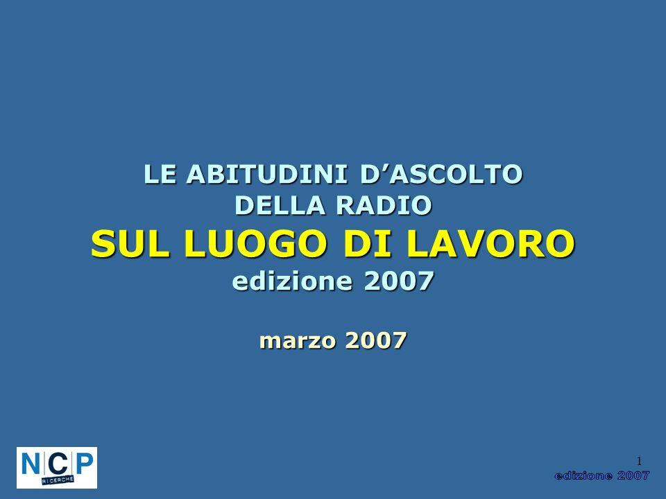 1 LE ABITUDINI DASCOLTO DELLA RADIO SUL LUOGO DI LAVORO edizione 2007 marzo 2007