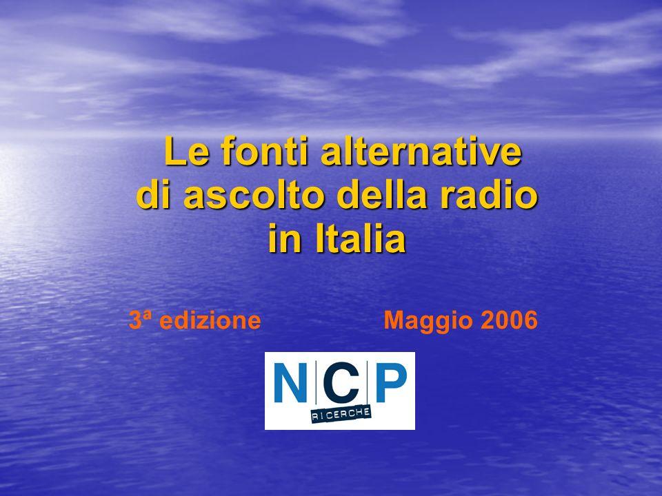 Le fonti alternative di ascolto della radio in Italia Le fonti alternative di ascolto della radio in Italia 3ª edizione Maggio 2006
