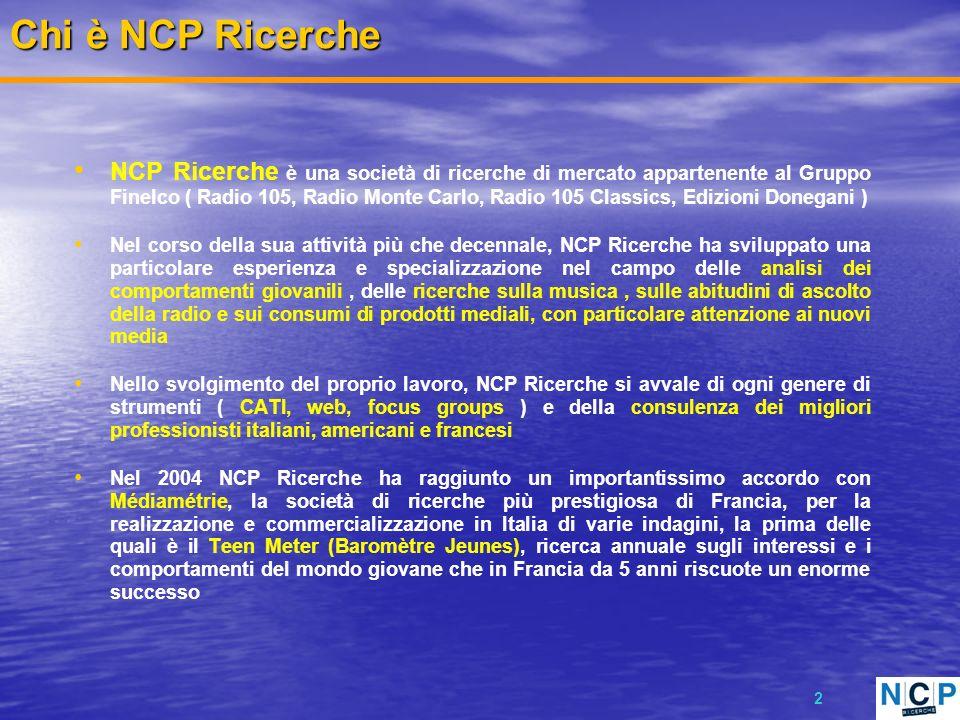 2 NCP Ricerche è una società di ricerche di mercato appartenente al Gruppo Finelco ( Radio 105, Radio Monte Carlo, Radio 105 Classics, Edizioni Donega