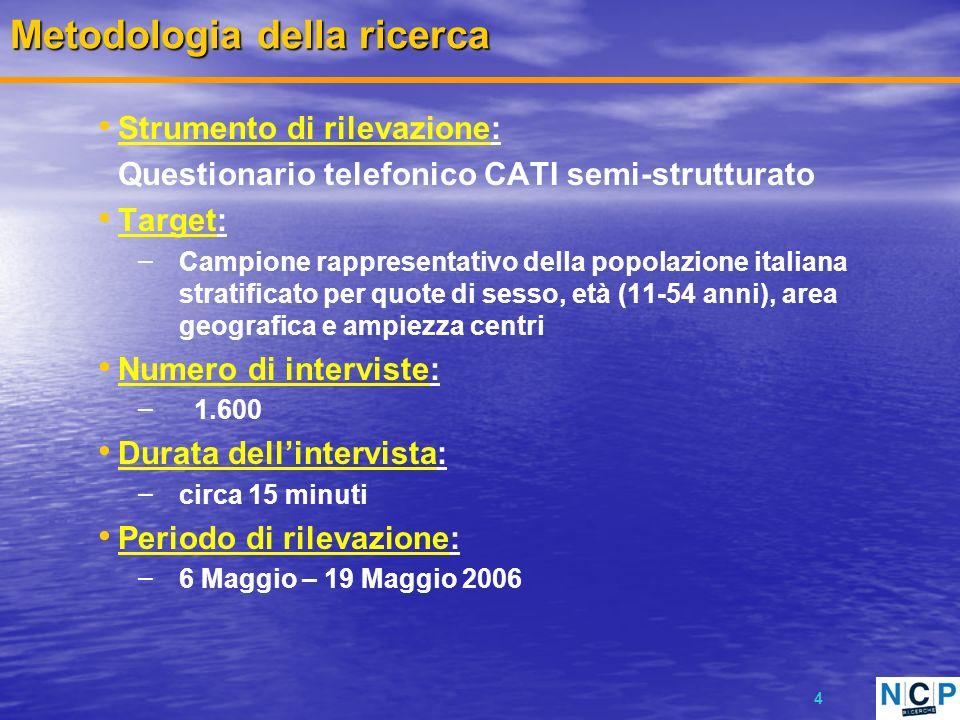 4 Metodologia della ricerca Strumento di rilevazione: Questionario telefonico CATI semi-strutturato Target: – Campione rappresentativo della popolazio