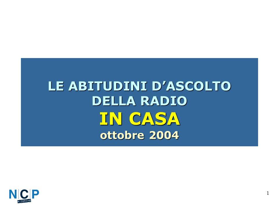 1 LE ABITUDINI DASCOLTO DELLA RADIO IN CASA ottobre 2004