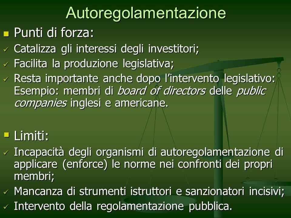 Autoregolamentazione Punti di forza: Punti di forza: Catalizza gli interessi degli investitori; Catalizza gli interessi degli investitori; Facilita la