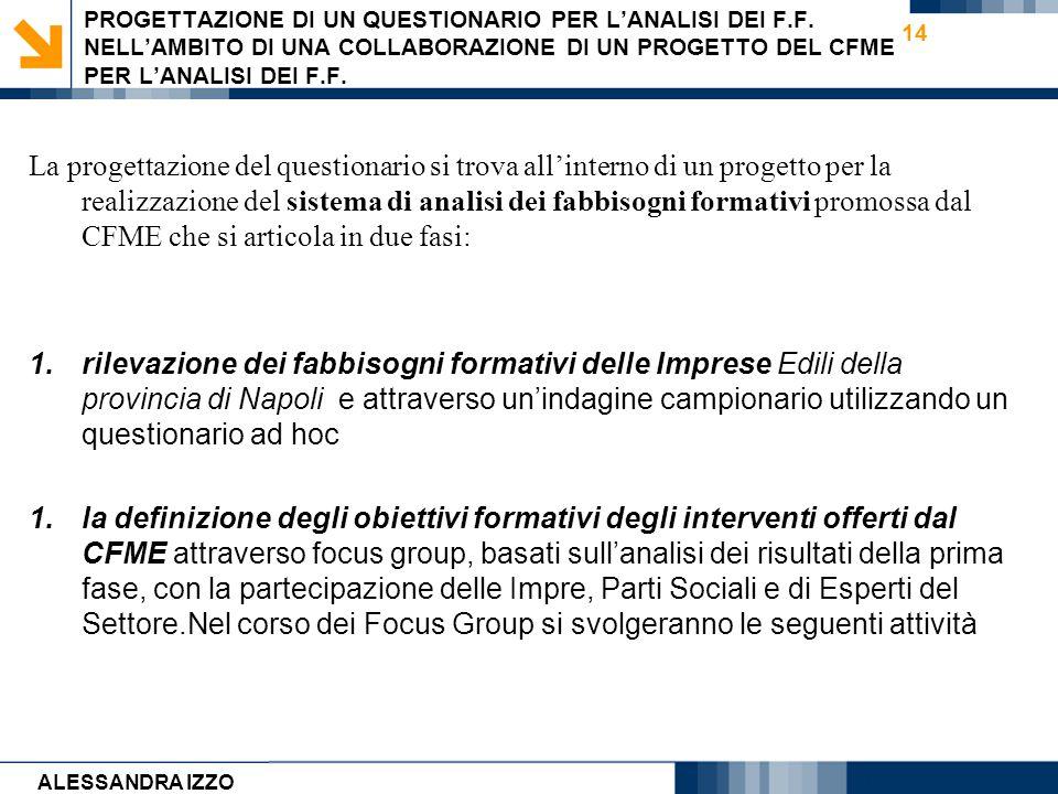 Carmen Cirulli 14 PROGETTAZIONE DI UN QUESTIONARIO PER LANALISI DEI F.F. NELLAMBITO DI UNA COLLABORAZIONE DI UN PROGETTO DEL CFME PER LANALISI DEI F.F