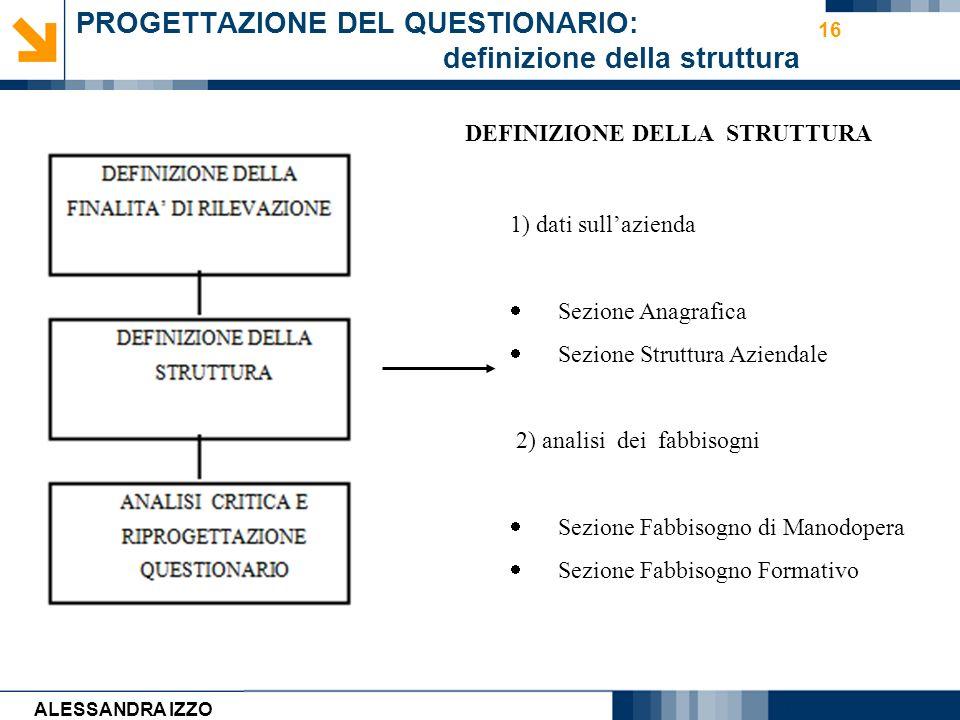 Carmen Cirulli 16 PROGETTAZIONE DEL QUESTIONARIO: definizione della struttura 1) dati sullazienda Sezione Anagrafica Sezione Struttura Aziendale 2) an