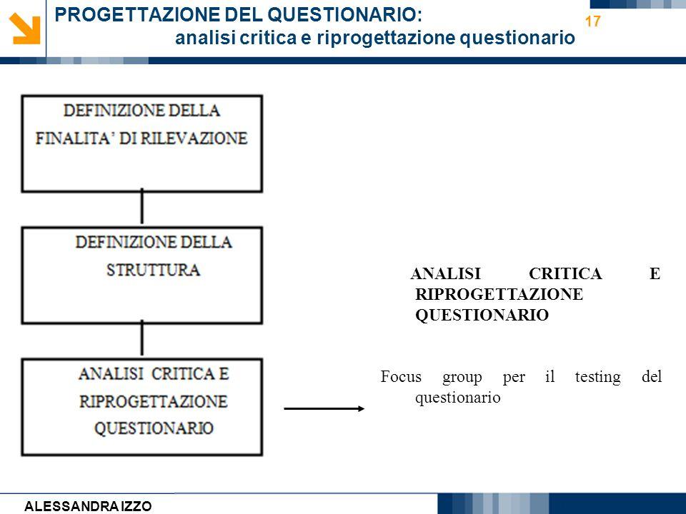 Carmen Cirulli 17 PROGETTAZIONE DEL QUESTIONARIO: analisi critica e riprogettazione questionario ANALISI CRITICA E RIPROGETTAZIONE QUESTIONARIO Focus