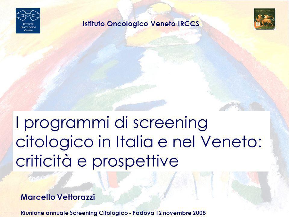 Diffusione dello screening organizzato in Italia (2006) Italia NordCentroSud e Isole % popolazione con screening organizzato 69 669466 % invitate 76 828064 % aderenti 39 463629 Sesto Rapporto ONS - 2007