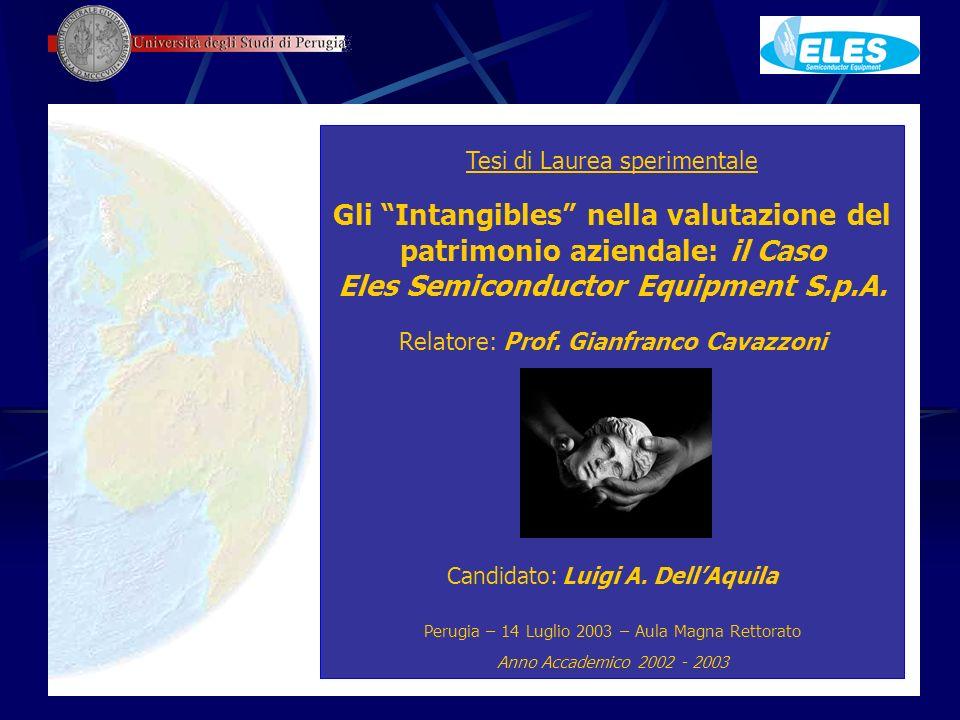 Tesi di Laurea sperimentale Gli Intangibles nella valutazione del patrimonio aziendale: il Caso Eles Semiconductor Equipment S.p.A. Relatore: Prof. Gi