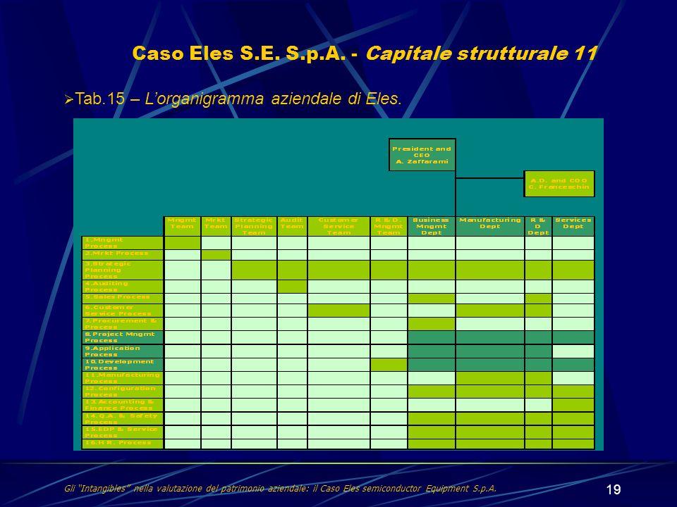 19 Gli Intangibles nella valutazione del patrimonio aziendale: il Caso Eles semiconductor Equipment S.p.A. Caso Eles S.E. S.p.A. - Capitale struttural
