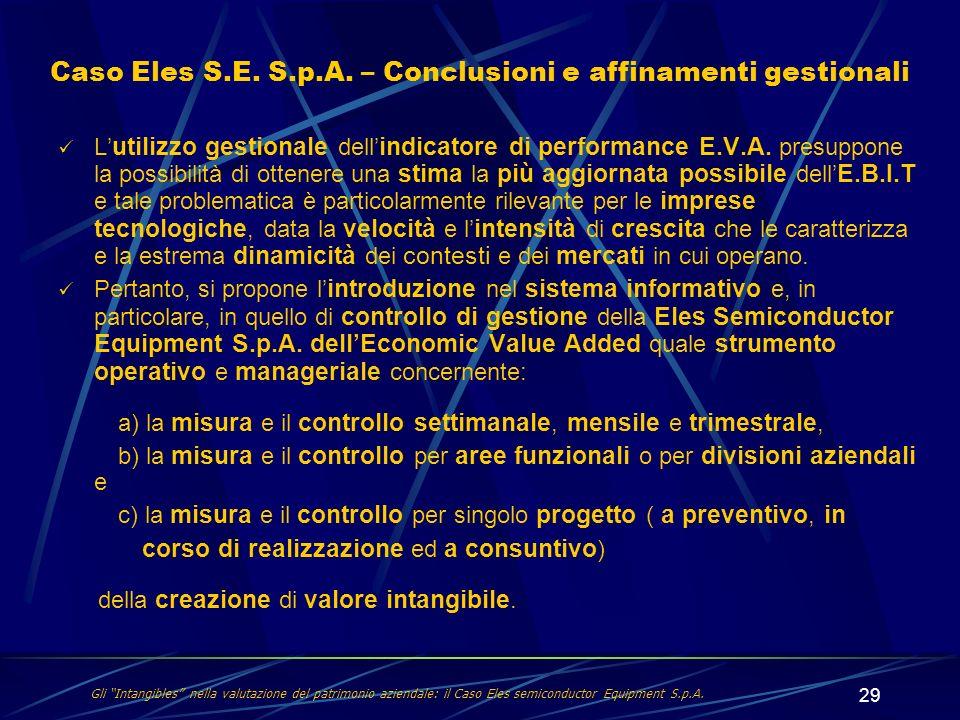 29 L utilizzo gestionale dell indicatore di performance E.V.A. presuppone la possibilità di ottenere una stima la più aggiornata possibile dell E.B.I.