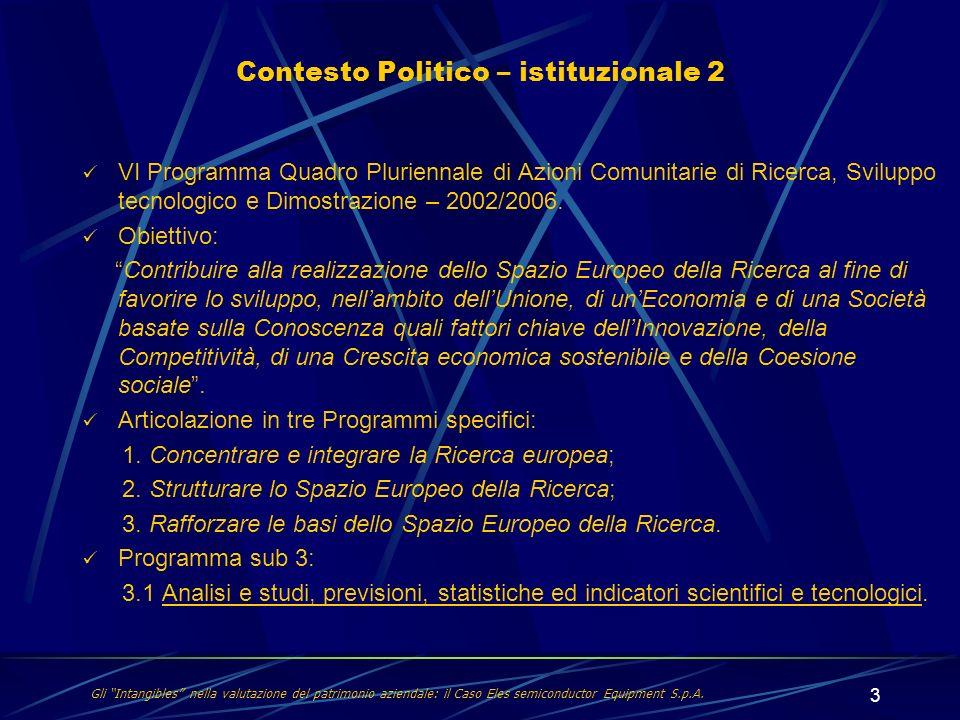 3 VI Programma Quadro Pluriennale di Azioni Comunitarie di Ricerca, Sviluppo tecnologico e Dimostrazione – 2002/2006. Obiettivo: Contribuire alla real