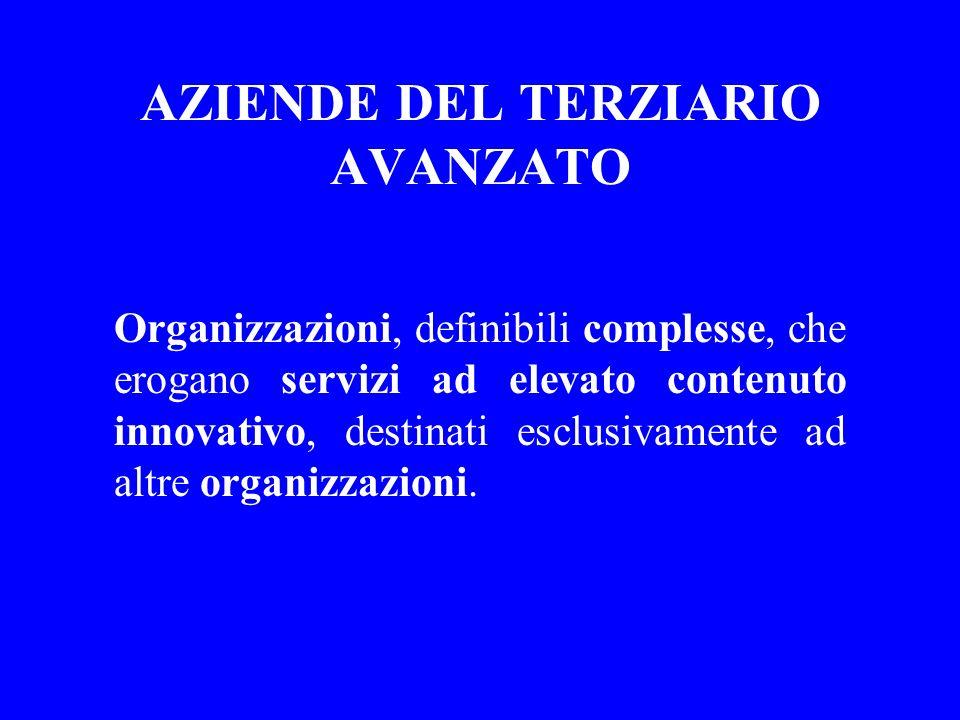 AZIENDE DEL TERZIARIO AVANZATO Organizzazioni, definibili complesse, che erogano servizi ad elevato contenuto innovativo, destinati esclusivamente ad