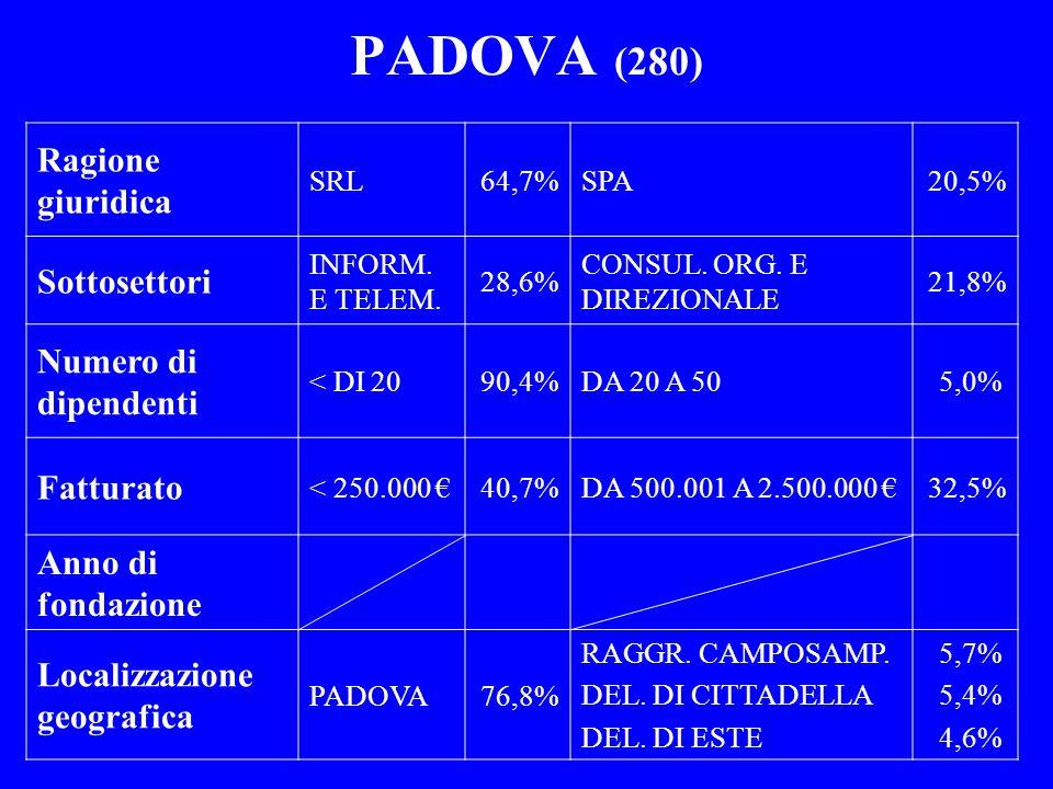 PADOVA (280) Ragione giuridica SRL64,7%SPA20,5% Sottosettori INFORM. E TELEM. 28,6% CONSUL. ORG. E DIREZIONALE 21,8% Numero di dipendenti < DI 2090,4%