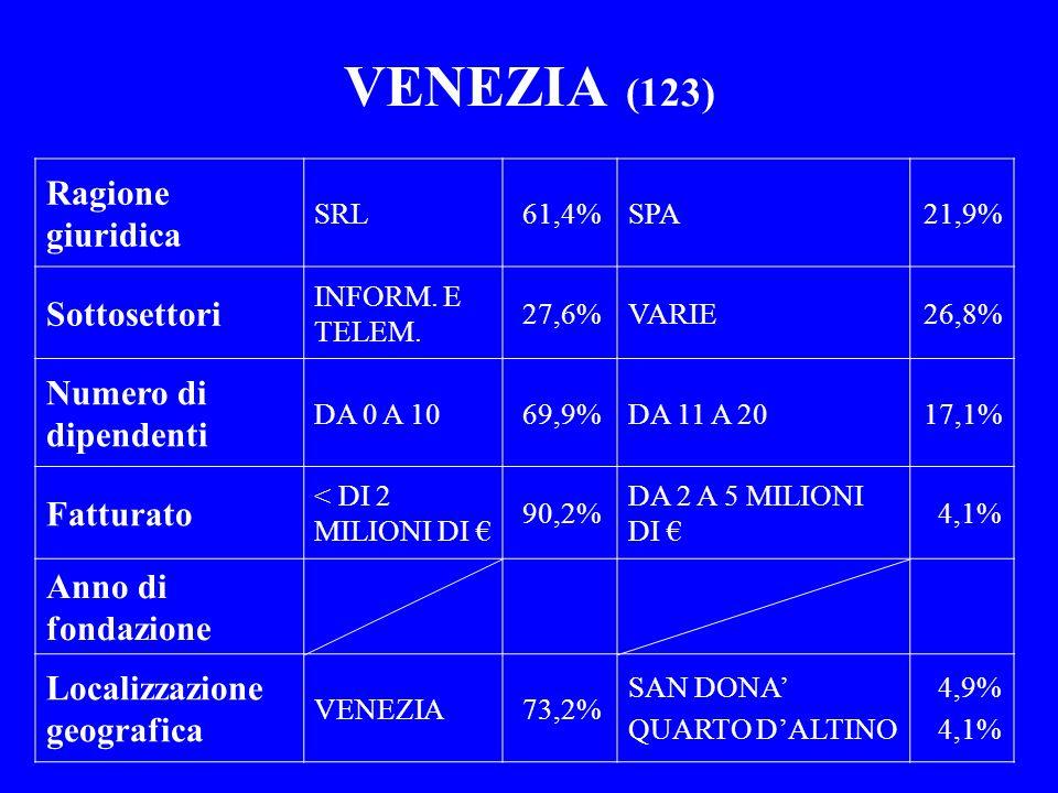 VENEZIA (123) Ragione giuridica SRL61,4%SPA21,9% Sottosettori INFORM. E TELEM. 27,6%VARIE26,8% Numero di dipendenti DA 0 A 1069,9%DA 11 A 2017,1% Fatt