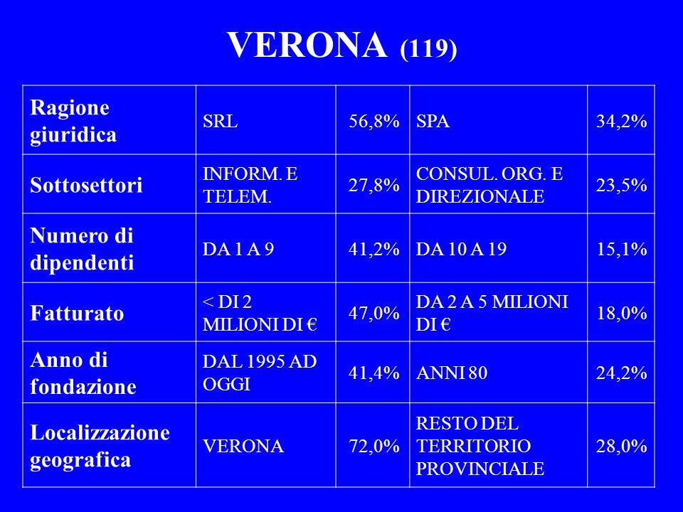 VERONA (119) Ragione giuridica SRL56,8%SPA34,2% Sottosettori INFORM. E TELEM. 27,8% CONSUL. ORG. E DIREZIONALE 23,5% Numero di dipendenti DA 1 A 941,2