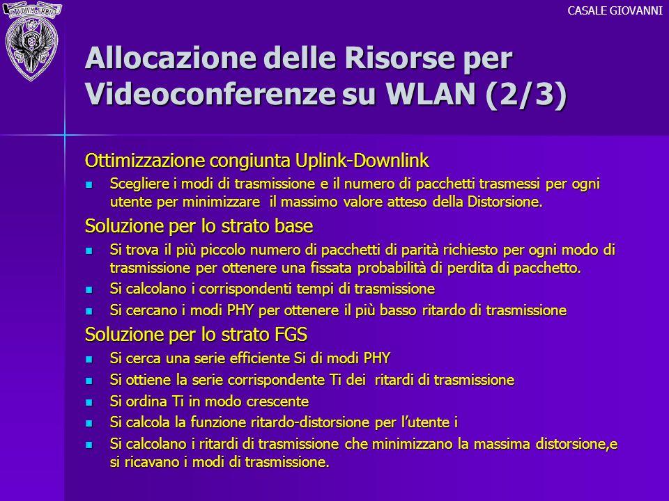 Allocazione delle Risorse per Videoconferenze su WLAN (2/3) Ottimizzazione congiunta Uplink-Downlink Scegliere i modi di trasmissione e il numero di p