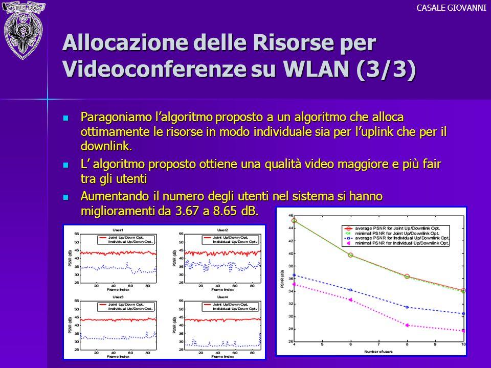 Allocazione delle Risorse per Videoconferenze su WLAN (3/3) Paragoniamo lalgoritmo proposto a un algoritmo che alloca ottimamente le risorse in modo i