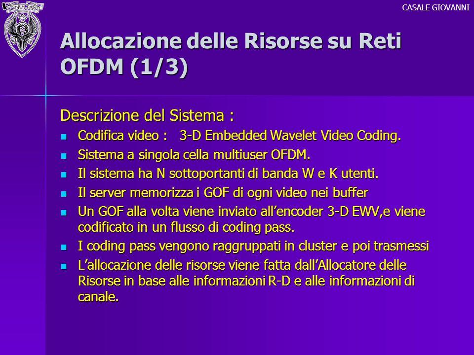 Allocazione delle Risorse su Reti OFDM (1/3) Descrizione del Sistema : Codifica video : 3-D Embedded Wavelet Video Coding. Codifica video : 3-D Embedd