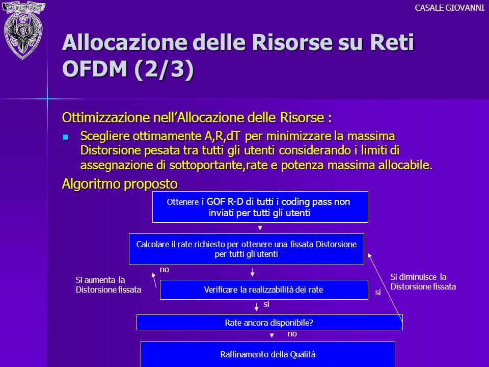 Allocazione delle Risorse su Reti OFDM (2/3) Ottimizzazione nellAllocazione delle Risorse : Scegliere ottimamente A,R,dT per minimizzare la massima Di