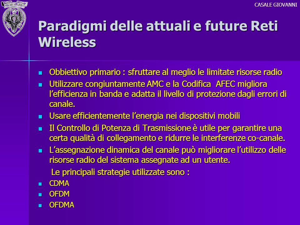Paradigmi delle attuali e future Reti Wireless Obbiettivo primario : sfruttare al meglio le limitate risorse radio Obbiettivo primario : sfruttare al
