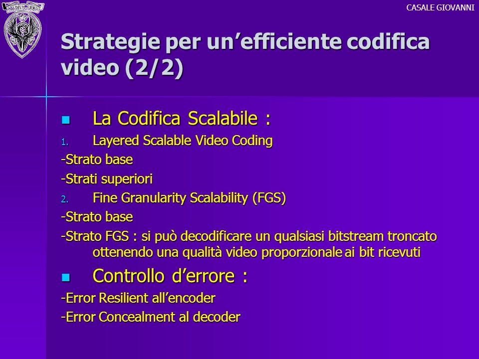 Strategie per unefficiente codifica video (2/2) La Codifica Scalabile : La Codifica Scalabile : 1. Layered Scalable Video Coding -Strato base -Strati