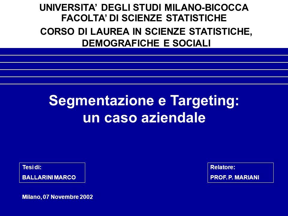 Segmentazione e Targeting: un caso aziendale Milano, 07 Novembre 2002 UNIVERSITA DEGLI STUDI MILANO-BICOCCA FACOLTA DI SCIENZE STATISTICHE CORSO DI LAUREA IN SCIENZE STATISTICHE, DEMOGRAFICHE E SOCIALI Tesi di: BALLARINI MARCO Relatore: PROF.