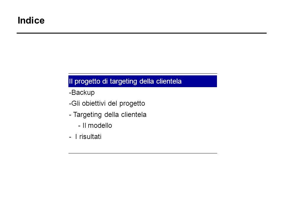 Indice Il progetto di targeting della clientela -Backup -Gli obiettivi del progetto - Targeting della clientela - Il modello - I risultati