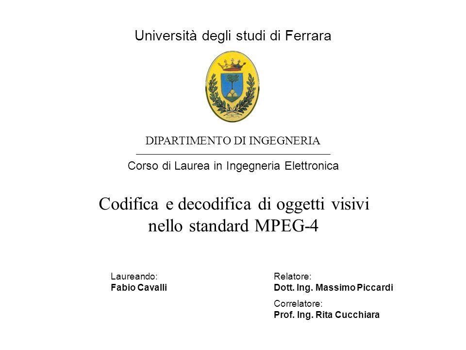 Università degli studi di Ferrara DIPARTIMENTO DI INGEGNERIA Corso di Laurea in Ingegneria Elettronica Codifica e decodifica di oggetti visivi nello standard MPEG-4 Laureando:Relatore: Fabio CavalliDott.