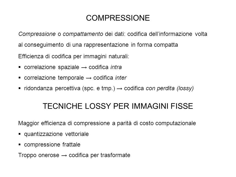 COMPRESSIONE Compressione o compattamento dei dati: codifica dellinformazione volta al conseguimento di una rappresentazione in forma compatta Efficie