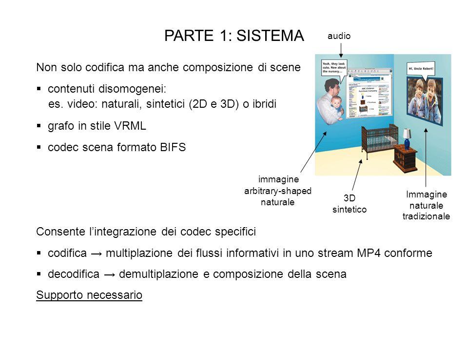 PARTE 1: SISTEMA Non solo codifica ma anche composizione di scene contenuti disomogenei: 3D sintetico Immagine naturale tradizionale audio arbitrary-shaped naturale immagine es.