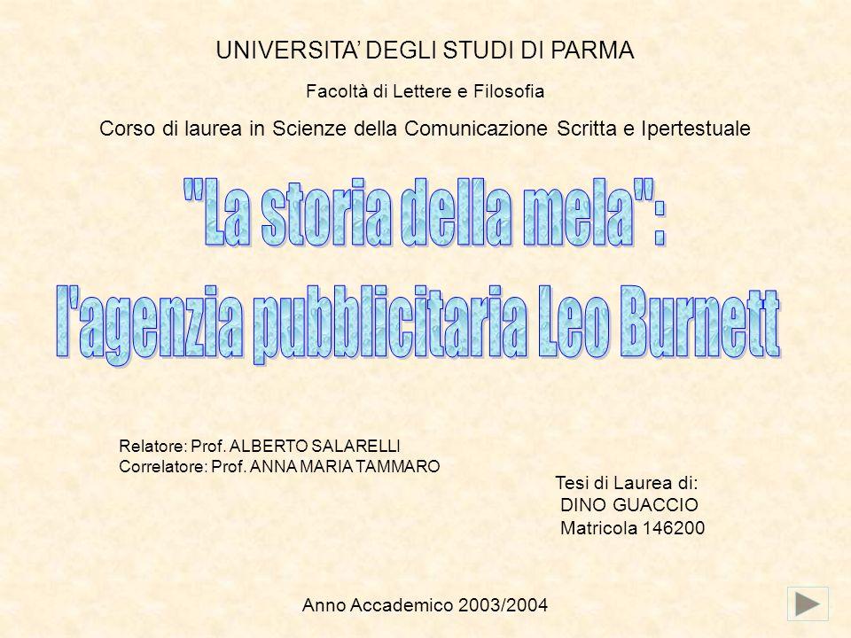 UNIVERSITA DEGLI STUDI DI PARMA Facoltà di Lettere e Filosofia Corso di laurea in Scienze della Comunicazione Scritta e Ipertestuale Relatore: Prof. A