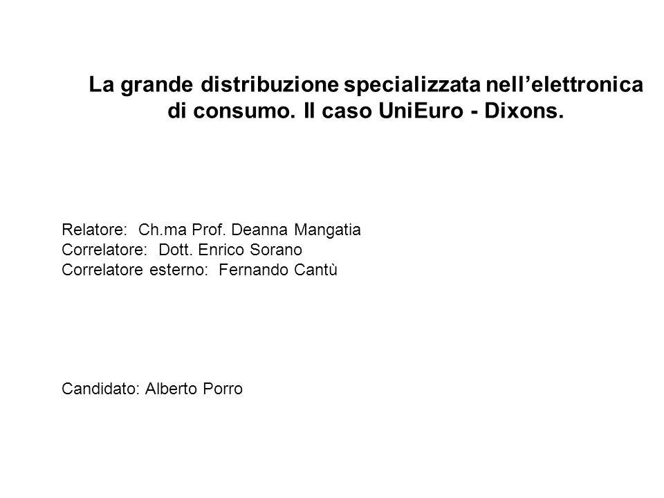 La grande distribuzione specializzata nellelettronica di consumo. Il caso UniEuro - Dixons. Relatore: Ch.ma Prof. Deanna Mangatia Correlatore: Dott. E