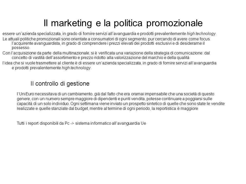 Il marketing e la politica promozionale essere unazienda specializzata, in grado di fornire servizi allavanguardia e prodotti prevalentemente high tec