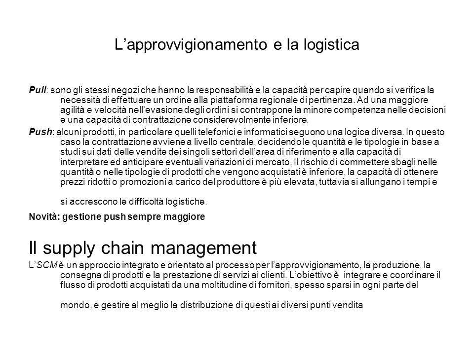 SCM Physical chain: Gestione del flusso delle merci Information chain: circola- Zione delle informazioni Da monte a valle e viceversa Financial chain: complesso dei flussi finanziari in azione per la movimen- tazione delle merci.