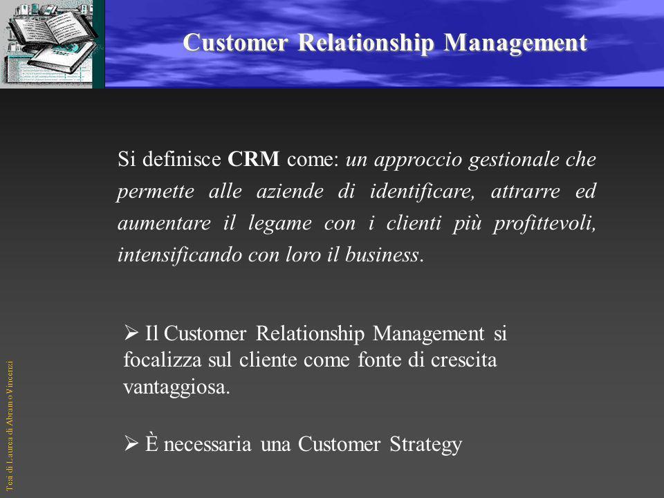 Tesi di Laurea di Abramo Vincenzi Customer Relationship Management Si definisce CRM come: un approccio gestionale che permette alle aziende di identificare, attrarre ed aumentare il legame con i clienti più profittevoli, intensificando con loro il business.
