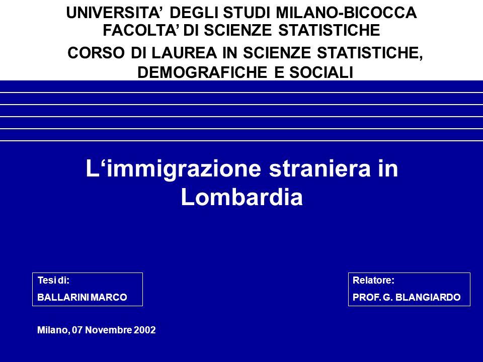 Limmigrazione straniera in Lombardia Milano, 07 Novembre 2002 UNIVERSITA DEGLI STUDI MILANO-BICOCCA FACOLTA DI SCIENZE STATISTICHE CORSO DI LAUREA IN SCIENZE STATISTICHE, DEMOGRAFICHE E SOCIALI Tesi di: BALLARINI MARCO Relatore: PROF.