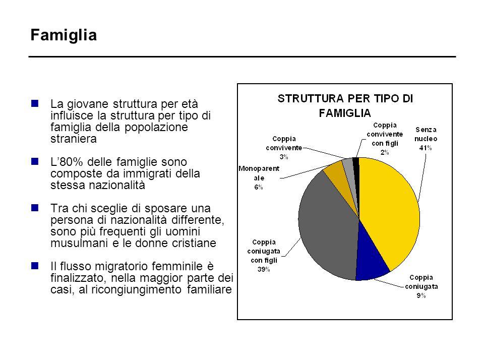 Famiglia nLa giovane struttura per età influisce la struttura per tipo di famiglia della popolazione straniera nL80% delle famiglie sono composte da i