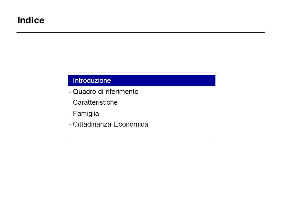 Indice - Introduzione - Quadro di riferimento - Caratteristiche - Famiglia - Cittadinanza Economica